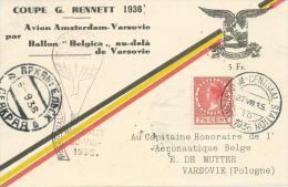 "30.VIII.1936. GORDON-- BENNETT  CHALLENGE  BALLOON RACE ON "" BALON BELGICA "" - Poste Aérienne"