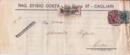 STORIA POSTALE BUSTA POSTALE RACCOMANDATA DA EFISIO COSTA CAGLIARI 22/9/1914 X CAGLIARI - Posta