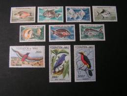 == Mali 1960  Flugpost Vögel Fische ** MNH    Ca. €   50,00    Nr. 3-12 - Mali (1959-...)