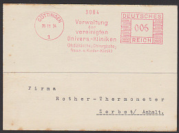 """DR AFS Göttingen =006= """"Verwaltung Der Vereinigten Univers.-Kliniken"""" 1934 - Marcophilie - EMA (Empreintes Machines)"""