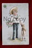 Jeune Garçon & Chien - Carte Gauffrée Bonne Année - Embossed New Year Card - Young Boy & Dog - Trèfle - Chiens