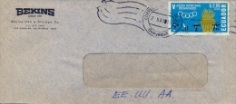 Ecuador 1967 Commercial Cover By Air Mail To USA With Air Mail Stamp 2,00 S. 5th Bolivarian Games - Timbres
