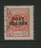 POLAND PORT GDANSK 1925 15GR EAGLE BAROQUE SHIELD RED MATT OVERPRINT USED DANZIG POLEN POLOGNE POLONIA - Usados