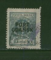 POLAND PORT GDANSK 1925 10GR EAGLE BAROQUE SHIELD BLUE-GREEN MATT OVERPRINT THIN PAPER USED DANZIG POLEN POLOGNE POLONIA - Usados