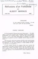 Albert Marinus Réflexion D'un  Folkkloriste 13ème Série 1968 - Boeken, Tijdschriften, Stripverhalen