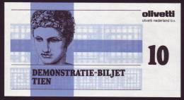 "Test Note  ""Olivetti "",  10 Units, Both Sides  ,UNC , Rare - Paesi Bassi"