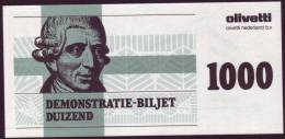 "Test Note  Test Note  ""Olevetti "",  1000 Units, Both Sides, UNC , Rare - Niederlande"