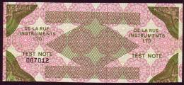 Test Note De La Rue,  No Value, Both Sides Same, Intaglio, UNC ,extremly  Rare - Billets