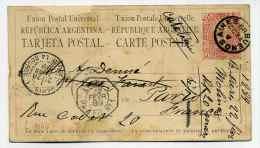 """Entier ARGENTINE / Cad Ligne Maritime : LIGNE J PAQ FR N°1 Ref Pothion N° 1067 /  Paquebot : """"Catalogne""""  / 22 Fev 1889 - Covers & Documents"""