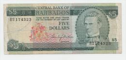 BARBADOS 5 DOLLARS 1973 VF P 31 - Barbados