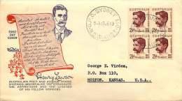 1949  Lawsomn Block Of 4  Wide World Cachet - Sydney Cancel  To USA - FDC