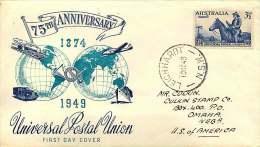 1949  UPU 75th Ann.  World Wide Blue-green Cachet - Leichhardt NSW To USA - FDC