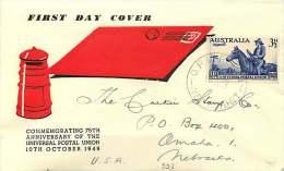 1949  UPU 75th Ann.  Guthrie Cachet - Perth Cancel  To USA - FDC
