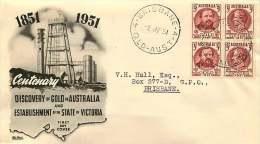1950 Stamp Centenary Se-tenant Block Of 4   World Wide Black Cachet  - Brisbane Cancel - FDC