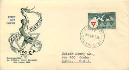 1955   YMCA  Dark Green Wesley Cachet - Adelaide Cancel, To USA - FDC