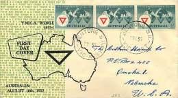 1955   YMCA  Dark Green Strip Of 3   Mappin & Curran  Cachet -  Mentone  Cancel, To USA - FDC