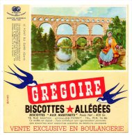 Buvard - Biscottes Allégées Grégoire - Le Pont Du Gard - Biscottes