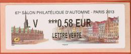 VIGNETTE LISA 2 - SALON PHILATELIQUE D´AUTOMNE - PARIS 2013  - MENTION 0,58 EUR LETTRE VERTE - NEUF - 2010-... Vignettes Illustrées