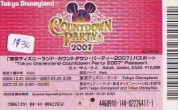 Disney Passeport Entreecard JAPON * COUNTDOWN 2007 * TOKYO DISNEYLAND *  Passport (1130) JAPAN * DISNEY * - Disney