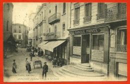 CPA 07 ANNONAY Ardèche - Place De La Liberté (BANQUE Et Café Du Commerce) ° Edition Vallée - Annonay