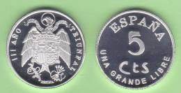 VERY  RARE!!!!  SPAIN/ESPAÑA / Estado Español 5 Céntimos 1.937 Zinc SC T-DL-10.090 Hola. - Zonder Classificatie