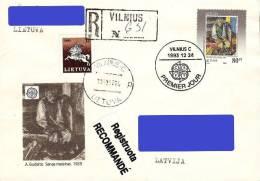 Lithuania Litauen Lituanie 1993 (14) Europa CEPT Contemporary Art Antanas Gudaitis (addressed FDC) - Lituania
