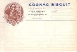 NORD - LILLE - MEMORANDUM DE PAUL OLIVIER , AGENT GENERAL - COGNAC BISQUIT - VIERGE - France