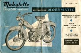 * Dépliant Publicitaire Mobylette : Les Modèles Mobymatic (octobre 1957) - Publicités