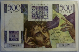 500 Francs 13.05.1948      Chateaubriand - 1871-1952 Circulated During XXth