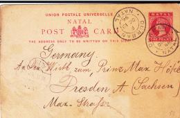 NATAL - 1896 - CARTE ENTIER POSTAL De DURBAN Pour DRESDEN - Natal (1857-1909)