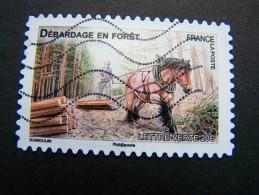 FRANCE OBLITERE 2013 N° 824 DEBARDAGE EN FORET SERIE DU CARNET CHEVAUX DE TRAIT DE NOS REGIONS AUTOCOLLANT ADHESIF - France