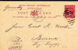 GIBRALTAR - 1898 - CARTE ENTIER POSTAL SURCHARGEE Du MAROC UTILISEE à GIBRALTAR Pour BORNA (SACHSEN) - Gibraltar