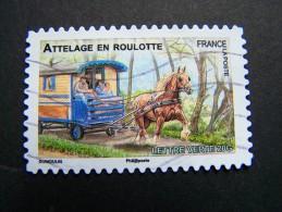 FRANCE OBLITERE 2013 N° 820 ATTELAGE EN ROULOTTE SERIE DU CARNET CHEVAUX DE TRAIT DE NOS REGIONS AUTOCOLLANT ADHESIF - France
