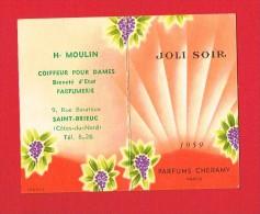 Calendrier Parfumé De 1959 - Parfums CHERAMY Paris - H.MOULIN Coiffeur ST-BRIEUC 9 Rue Baratoux - Calendriers