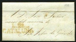 Pli De LA BISBAL De 1839 Pour Sant FELIEU DE GUIXOL En Port Du Avec La Marque  Rouge L.21.- / CATALUNA - Spain
