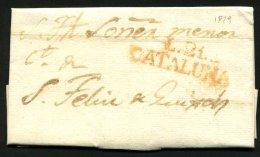 Pli De LA BISBAL De 1829 Pour Sant FELIEU DE GUIXOL En Port Du Avec La Marque  Rouge L.21.- / CATALUNA - Spain