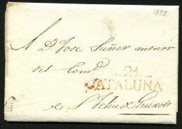 Pli De LA BISBAL De 1833 Pour Sant FELIEU DE GUIXOL En Port Du Avec La Marque  Rouge L.21.- / CATALUNA - Spain