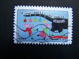 FRANCE OBLITERE 2013 N° 795 LE CHAT PARTI LES SOURIS DANSENT SERIE CARNET SOURIRES SAUTER DU COQ A L'ANE - France