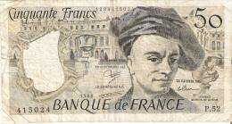 BILLETE DE FRANCIA DE 50 FRANCOS DE QUENTIN DE LA TOUR DEL AÑO 1988 - 1962-1997 ''Francs''