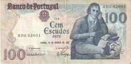 BILLETE DE PORTUGAL DE 100 ESCUDOS DE MARZO DEL AÑO 1985 SERIE EDZ (BANKNOTE) - Portugal