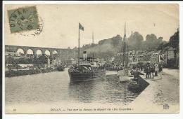 """DINAN , Vue Sur La Rance , Le Départ Du """" Du Guesclin """" , CPA ANIMEE , 1919 - Dinan"""