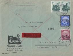 DR Brief Eilbote Mif Minr.520,2x 546,553 Augsburg 21.9.34 - Deutschland