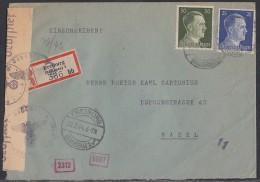 DR R-Brief Mif Minr.793,794 Freiburg 23.2.44 Gel. In Schweiz Zensur - Deutschland