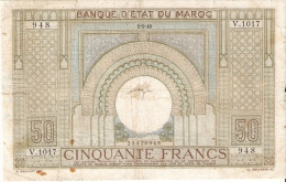 BILLETE DE MARRUECOS DE 50 FRANCS DEL AÑO 1945 (BANKNOTE-BANK NOTE) - Marruecos