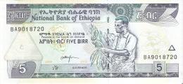 BILLETE DE ETIOPIA DE 5 BIRR DEL AÑO 2008 (BANK NOTE) SIN CIRCULAR-UNCIRCULATED - Etiopía