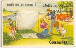 14 - COURSEULLES - Quelle Joie De Camper à COURSEULLES ++++++ Vers Paris, 1954 ++++ Carte à Système ++++ - Autres Communes