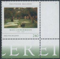 !a! GERMANY 2013 Mi. 2974 MNH SINGLE From Lower Right Corner -German Paintings: Liebermann - [7] Repubblica Federale