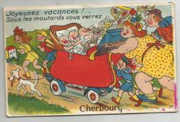 Cherbourg  Carte Humourisque Joyeuse Vacances Sous Les Moutards Vous Verrez Cherbourg - Cherbourg