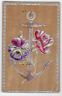 Wood Material Anchor Flowers Vintage Original Postcard Cpa Ak (W3_2831) - Altri