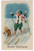 Herzliche Neujahrsgrusse New Year Ski Artist Drawn Puppe Clown  Vintage Original Postcard Cpa Ak (W3_2836) - Año Nuevo